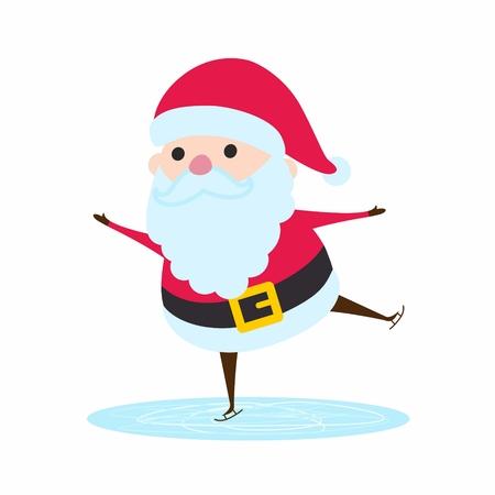 saint nick: Santa Claus riding on ice rink