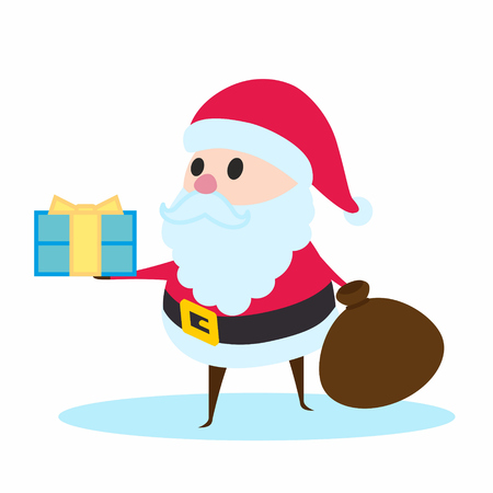 Santa Claus holding a gift. Merry Christmas and happy New Year design element.