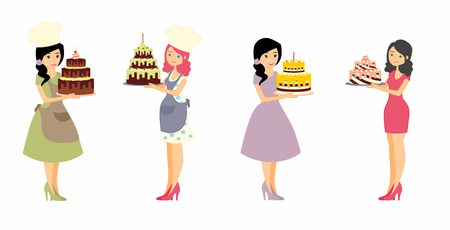 Set of female characters with a cake. Beautiful housewife, woman master baker holding a delicious pie. Vector illustration in a flat style