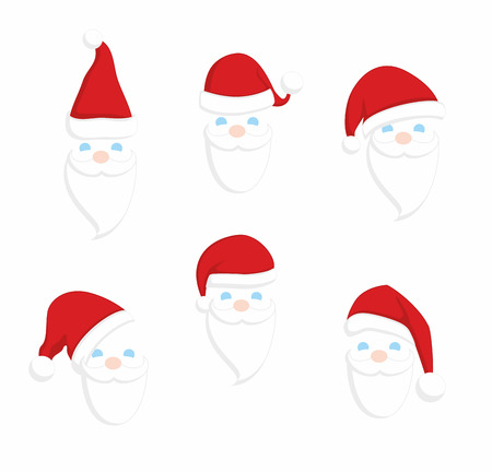 Set of Santa Claus faces. Illustration