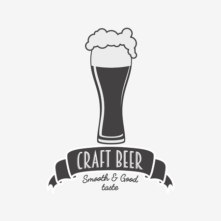 alehouse: Vintage retro badge, logo or symbol design template for craft beer house, bar, pub, brewing company, brewery or tavern with glass