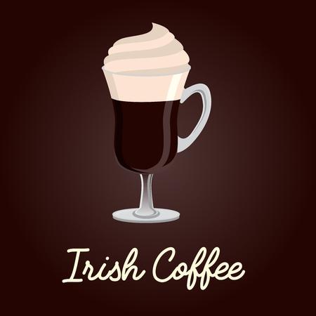 Illustration de vecteur de café irlandais avec titre de texte sur fond marron foncé