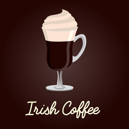 Irish coffee vector illustration with text title on dark brown background