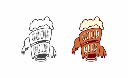 Vector vintage label, logo or symbol design template of craft beer with glass