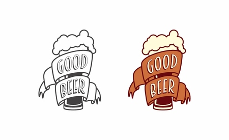Vector vintage label, logo or symbol design template of craft beer with glass