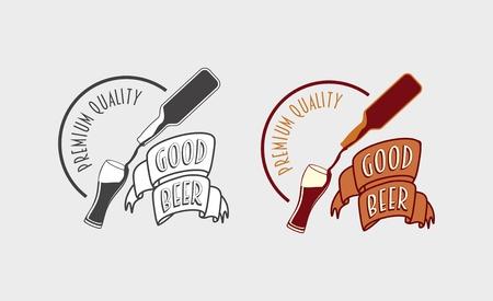Good beer vintage label, logo or symbol design template with bottle and glass