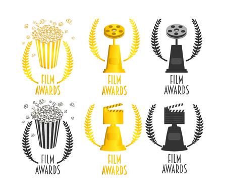 feature film: Set of film awards festival vector symbols or badges illustration