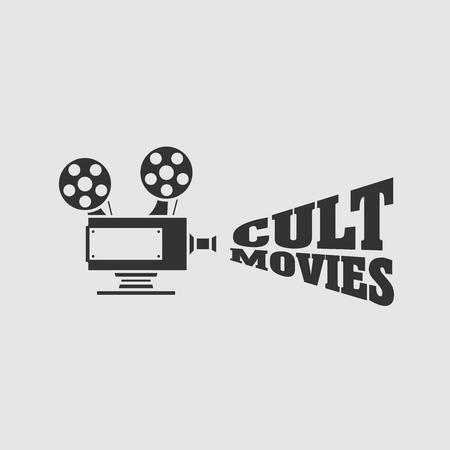 Cult movies vector logo, symbol or emblem design concept