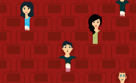 movie theater: cinema seamless pattern with people watching movie
