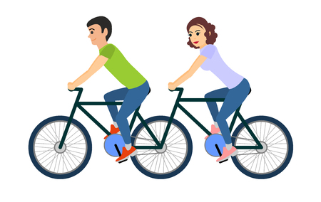Couple of man and woman riding a tandem bicycle. Vector illustration isolated on white background