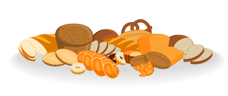 Vector Bakery shop products. Bread, sweet bun, cookies, croissant, cake and donuts illustrations on white Illustration
