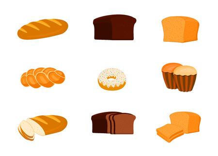 Conjunto de pan y otros productos de panadería aislados en blanco
