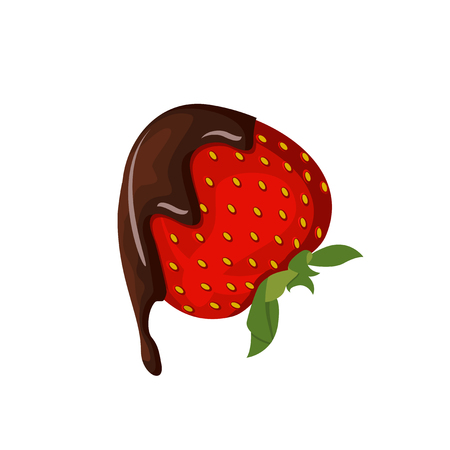 Strawberry with chocolate vector illustration isolated on white Иллюстрация