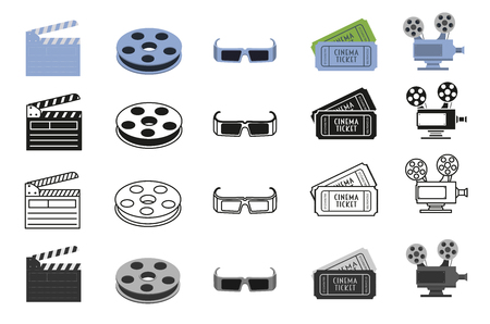 Movie icons, symbols set with cinema camera projector, bobbin, glasses, tickets and clapperboard Illustration