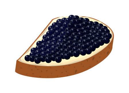 Delicious sandwich with black caviar. Vector illustration isolated on the white background. Ilustracja
