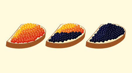 Vector illustration set of sandwiches with black and red caviar. Illustration