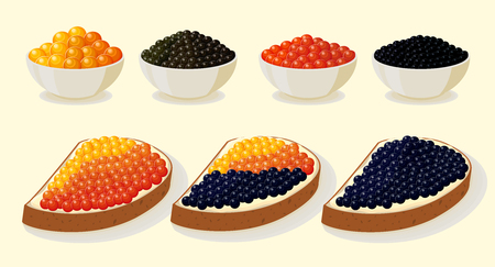 Seafood sandwiches set. Illustration with red and black caviar on a plate.