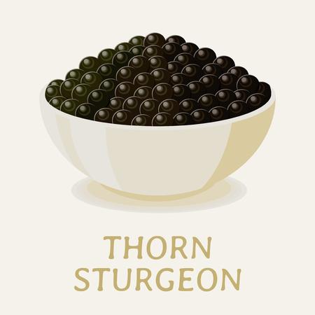 Appetizing black thorn sturgeon caviar in a white bowl.