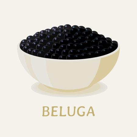 Vector illustration of the black beluga sturgeon caviar in a white plate.