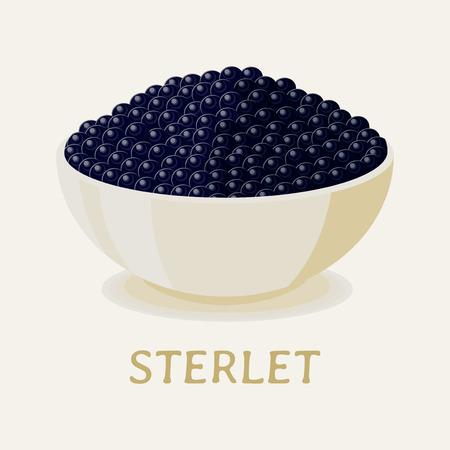 spawn: Black sterlet fish caviar on white plate