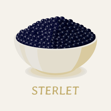 Black sterlet fish caviar on white plate