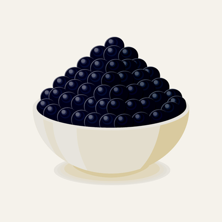 Black thorn sturgeon caviar on white plate