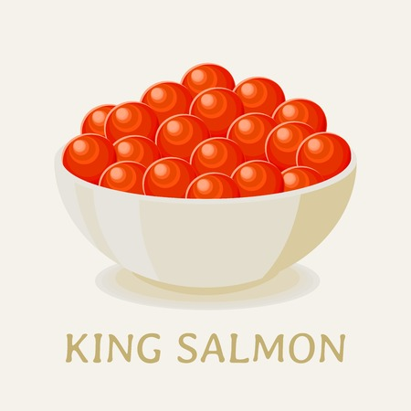 Red caviar of king salmon fish