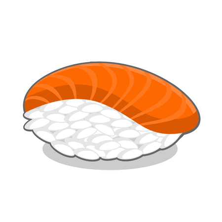 Appetizing nigiri sake sushi with salmon fish. Vector illustration isolated on a white background.