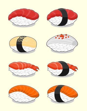 nori: Set of nigiri sushi with salmon, shrimp, squid, tuna and tamagoyaki.