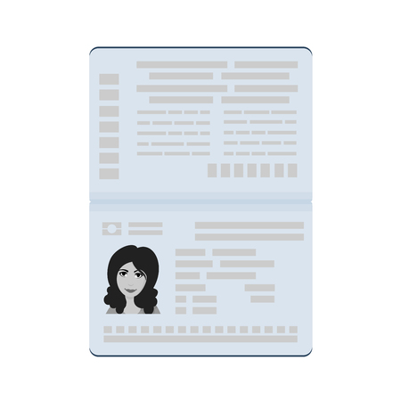 Open international passport with female photo. Vector illustration isolated on a white background. Illustration