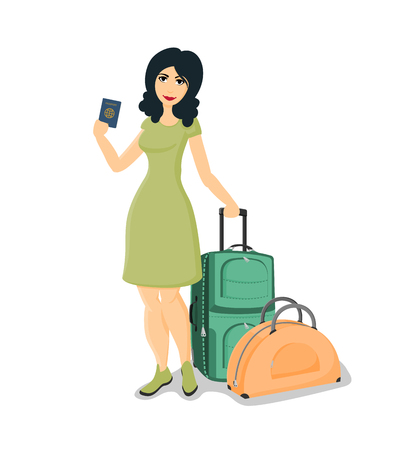 valise: The brunette woman in a green dress is holding suitcases and passport. Illustration