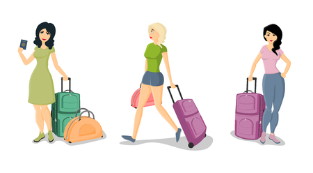 valise: Vector illustration set of women holding suitcases isolated on a white background.