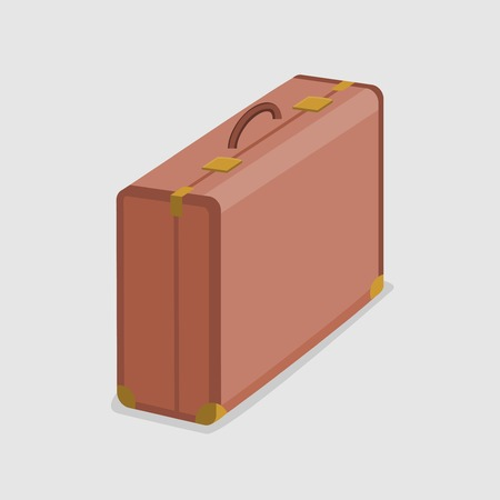 Vector illustration of durable and sturdy brown suitcase isolated on a white background. Çizim