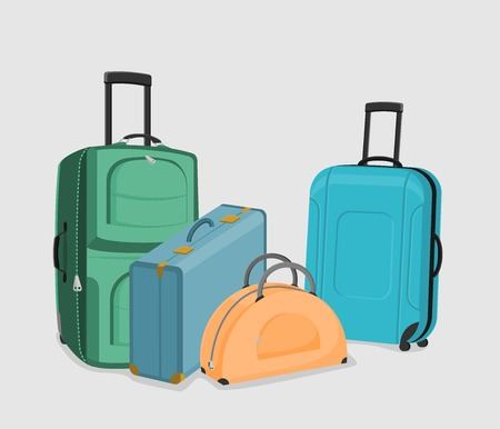 Vector Set of suitcases. The collection of four bags isolated on a white background. Illustration