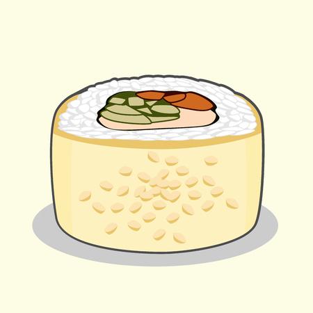 Golden dragon uramaki sushi roll with eel fish, sesame seeds, cream cheese, cucumber and avocado.