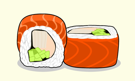 salmon dinner: Vector illustration red dragon uramaki sushi roll with salmon fish, cucumber, avocado, cream cheese and japanese omelette isolated on a light background. Illustration
