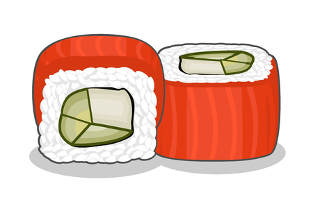 Philadelphia sushi roll with cream cheese and avocado, topped with salmon fish slices. Illustration
