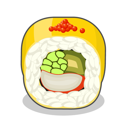 Cut golden dragon sushi roll with crab meat and cucumber, topped with mango slices. Vector illustration isolated on a white background. Illustration
