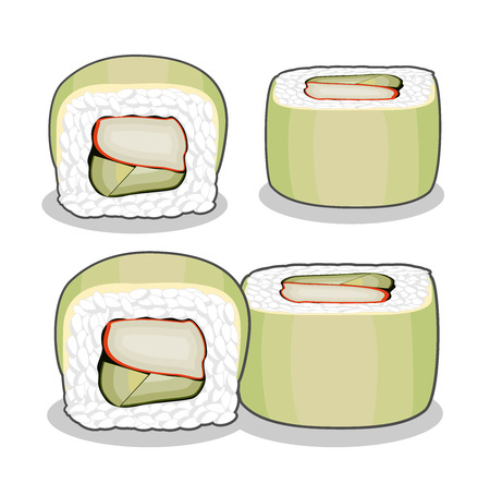 The collection of green dragon sushi rolls with crab meat and cucumber, topped with avocado slices. Vector set isolated on a white background.