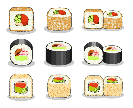 Collection of unagi hosomaki, curly dragon and salmon sushi rolls. Illustration