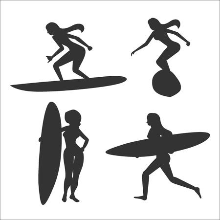 サーフボードと女性サーファーにベクトル イラストのセット