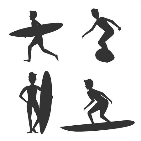 サーフボードと男性サーファーのベクトル シルエットのセット