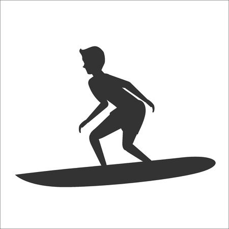 Vector silhouette illustration of surfer riding on surfboard
