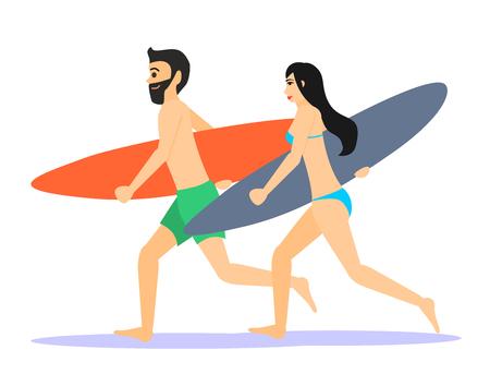 2 つの男性と女性サーファーを実行します。男性と女性は、白い背景で隔離のサーフボードと