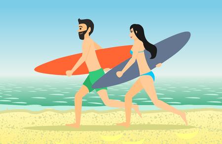 男性と女性のサーファーは、ビーチを走るします。男性と女性の白い背景で隔離のサーフボード