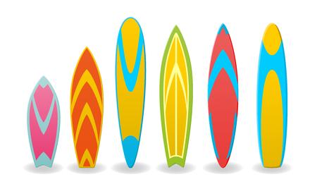 Satz Vektorillustrationen Surfbretter lokalisiert auf weißem Hintergrund
