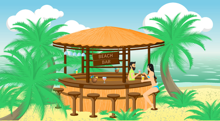 A Vector illustration. Bartender offers a drink to a female client in the beach bar on the seaside.
