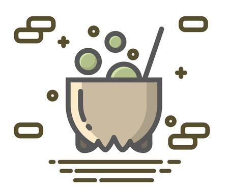 Witch cauldron icon illustration.