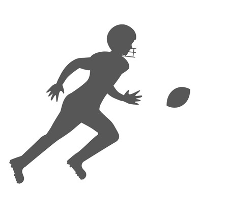 Silhouette of american football player. Vector character illustration