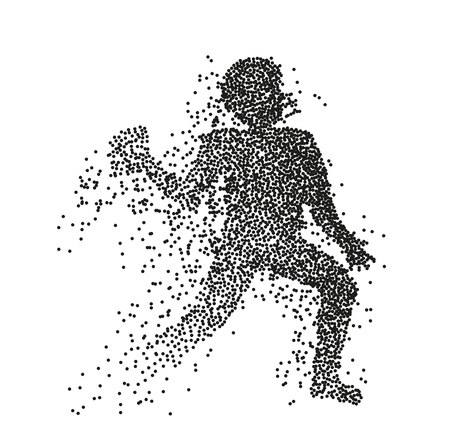Particle divergent silhouette of American football player jumping with a ball. Vector character illustration.